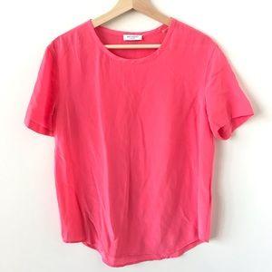 Equipment Femme bright pink silk t shirt